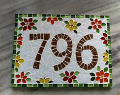 Placa N�mero Residencial Floral