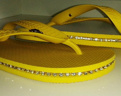 Chinelo Amarelo, Decorado Com Strass