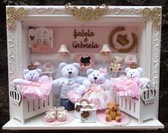 Quadro Maternidade Fam�lia Urso g�meos