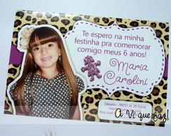 Convite Oncinha Rosa