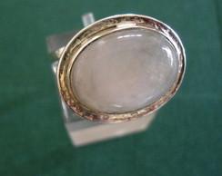 anel em prata e pedra da lua aro duplo