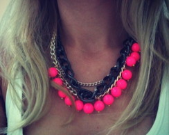 Maxi colar Pink Fluo