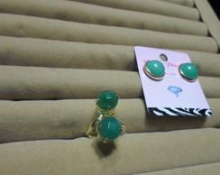 Brincos E Anel Em quartzo verde