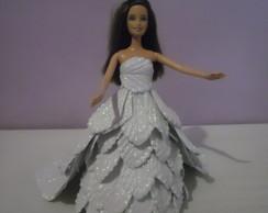 Boneca com vestido de Noiva em e.v.a.