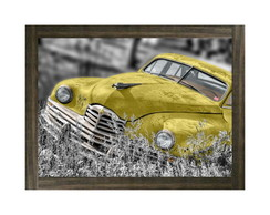 Quadro Moldura Yellow Car Old - 623