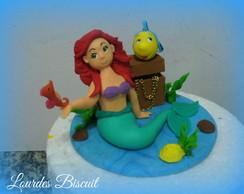 Topo de bolo - Ariel e linguado
