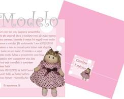 Convite Boneca Rosa E Marrom