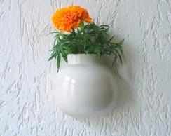 Vaso de Parede e Mesa em cer�mica branca