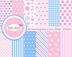 Kit Papel Digital Festa Pepig Rosa Azul