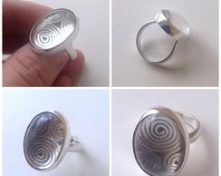 Anel de prata com cristal