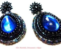 Brinco Bordado Gotas *Azul Royal*