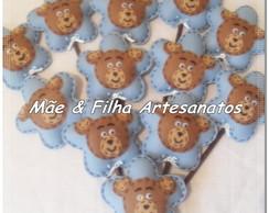 Flor Azul Com Urso _palitos