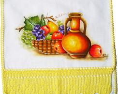 Pano de Prato com Jarro, Cesta e Frutas