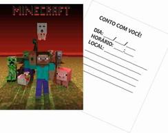 30 Convites Minecraft - Papel Grosso