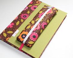 Caderno Flores, Estojo e Marcador de P�g