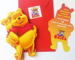 30 Convites Anivers�rio Infantil Pooh