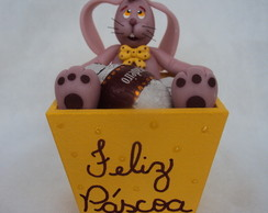 Cachep� porta ovos de p�scoa com coelho