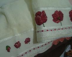 Toalhas de banho bordadas em ponto cruz