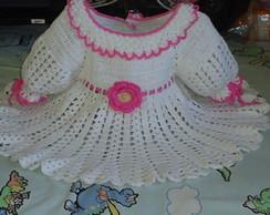 vestido branco de croch� .