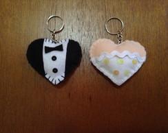Chaveiro cora��o noiva e noivo