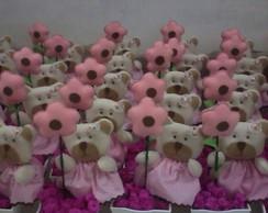 centro de mesa ursinha rosa com marrom