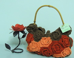 BROWN FLOWERS PURSE