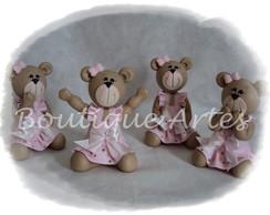 Kit ursas marrom e rosa para decora��o