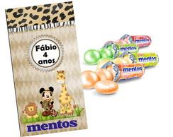 R�tulo Mentos 6,5x4,5 Cm Mickey Safari