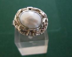 anel prata e p�rola moldura segmentada
