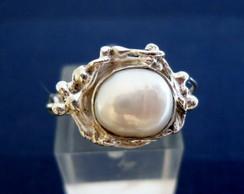 anel prata e p�rola moldura sinuosa