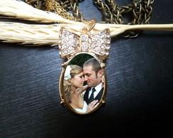 Pingente  Dourado La�o strass com foto