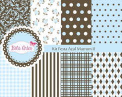Kit Papel Digital Festa Azul Marrom II