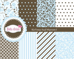 Kit Papel Digital Festa Azul Marrom I