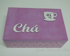 Caixa Ch� Mdf Floral Lil�s