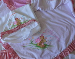 Manta menina - rosa com marrom