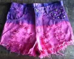 Shorts jeans customizado, rosa, Degrade