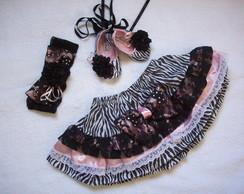 Saia , sapatilha e faixa de cabelo Zebra