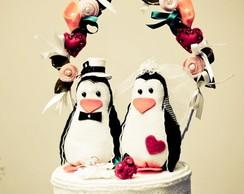 Topo de Bolo Pinguins Noivinhos!