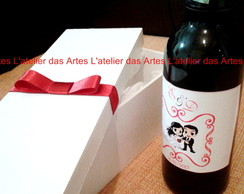 Caixa Mdf Casamento - Porta Mini - Vinho
