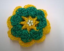 Presilha flor para cabelo em croch�