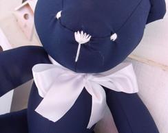 Urso Grande Azul Marinho com La�o Branco