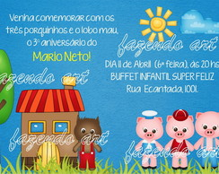 Arte digital Convite Tr�s Porquinhos
