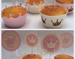 Wrapper + Topper Cupcake - Princesa