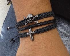 Kit pulseiras crucifixo e caveira