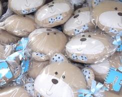 Almofada urso marrom e azul com 50 pe�as