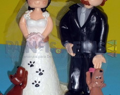 """Topo de Bolo """"Casal com cachorrinhos"""""""