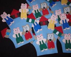 Luva de Historia 3 porquinhos com 6 p�s