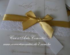 Convite Vintage La�o Simples dourado