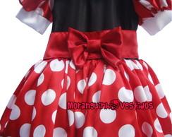Vestido Minnie Vermelha com Barra Branca