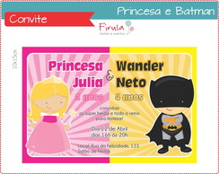 Convite Digital Princesa e Batman
